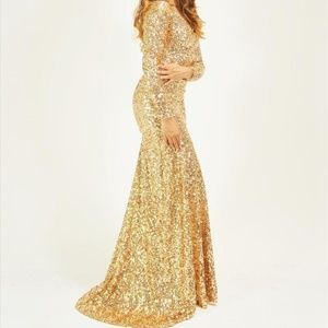 Dresses & Skirts - Crushed Gold Sequin Long Sleeve Mermaid Dress